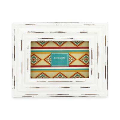 Aubergine Lawton 4-Inch x 6-Inch Distressed Frame in White