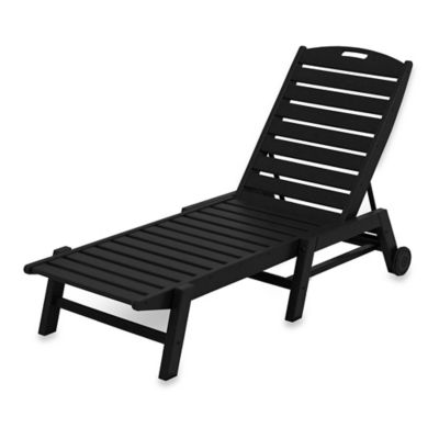 POLYWOOD® Nautical Stackable Wheeled Chaise in Black