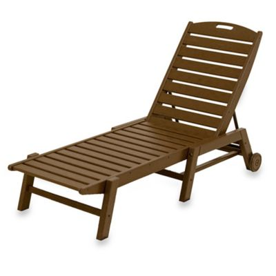 POLYWOOD® Nautical Stackable Wheeled Chaise in Teak
