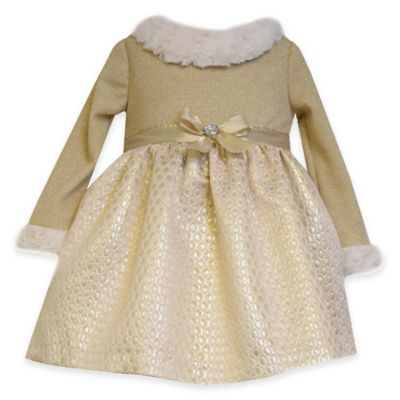 Bonnie Baby Size 0-3M Long Sleeve Knit and Brocade with Faux Fur Trim Dress in Gold