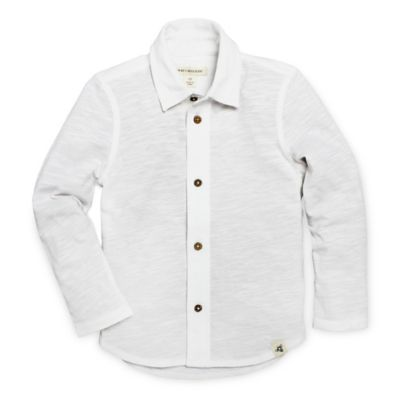 Burt's Bees Baby® Size 0-3M Long Sleeve Collar Shirt in White