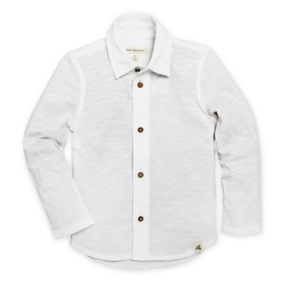 Burt's Bees Baby® Size 18M Long Sleeve Collar Shirt in White
