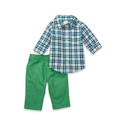 carter's® Size 24M 2-Piece Button-Down Shirt and Pant Set in Green