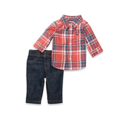 carter's® Size 18M 2-Piece Button-Down Shirt and Denim Pant Set in Red