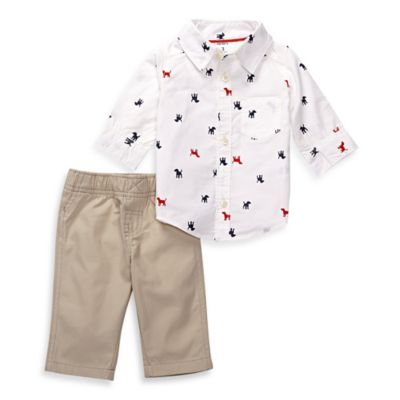 carter's® Size 18M 2-Piece Button-Down Shirt and Pant Set in White/Khaki