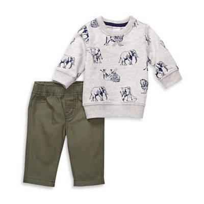carter's® Newborn 2-Piece Safari Cotton Pullover and Pant Set in Grey