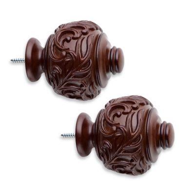 Cambria® Classic Wood Leaf Embossed Urn Finial in Dark Brown (Set of 2)