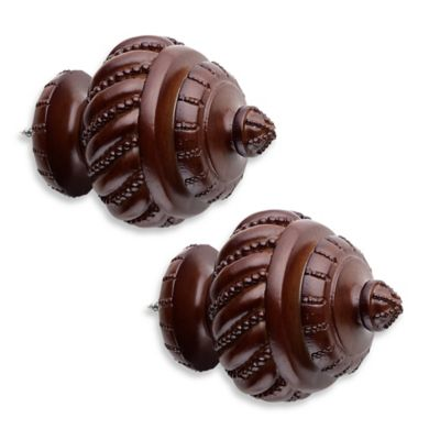 Cambria® Classic Wood Beaded Twist Finial in Dark Brown (Set of 2)