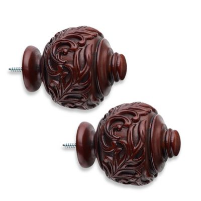 Cambria® Classic Wood Leaf Finial in Cherry (Set of 2)