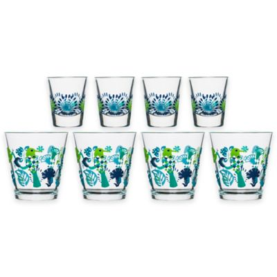 Sagaform® Fantasy Set of 4 Juice Glasses and 4 Shot Glasses in Green Multi
