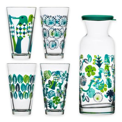 Sagaform® Fantasy 5-Piece All-Purpose Drinking Glass and Carafe Set in Blue/Green
