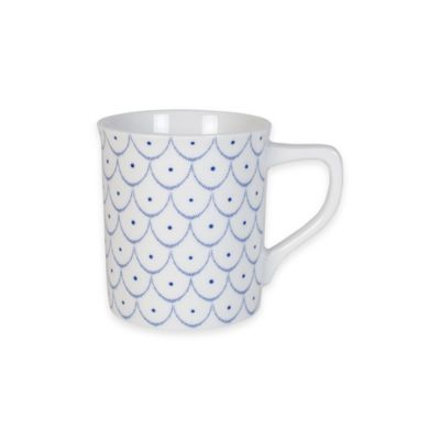 Everyday White® by Fitz and Floyd® Bistro Blue Scallop Pattern Mug