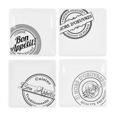 Everyday White® Bistro Black Square French Stamp Appetizer Plates (Set of 4)