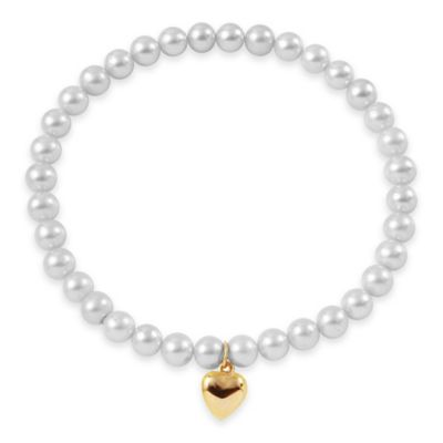 6-7mm Freshwater Cultured Pearl 7.5-Inch Stretch Bracelet with 14K Yellow Gold Heart Charm