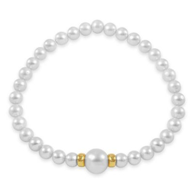 6-7mm Freshwater Cultured Pearl and 14K Yellow Gold Randell Bead 7.5-Inch Stretch Bracelet