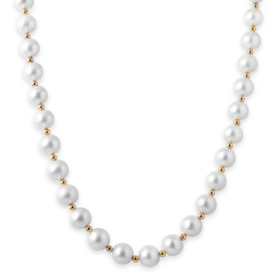 14K Yellow Gold 8-9mm Freshwater Cultured Pearl and Filigree Beads 18-Inch Strand Necklace