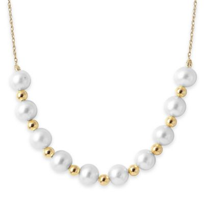 14K Yellow Gold 6-7mm Freshwater Cultured Pearl and Filigree Beads 18-Inch Necklace