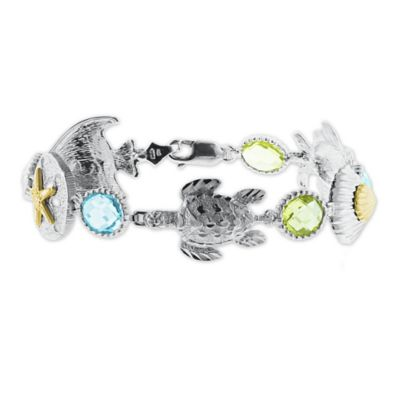 Sterling Silver and 14K Gold Blue Topaz and Green Quartz Sealife 8-Inch Bracelet