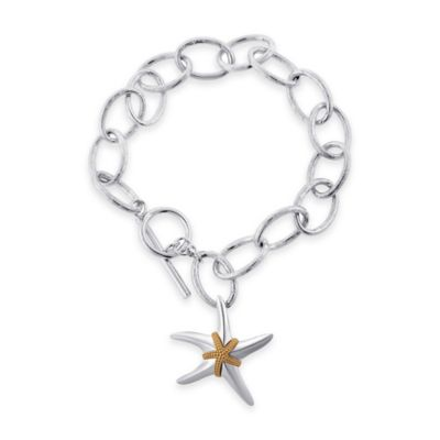 Sterling Silver and 14K Yellow Gold Double Starfish 8-Inch Charm Bracelet