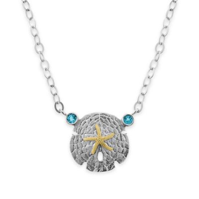 Sterling Silver and 14K Yellow Gold Blue Topaz 18-Inch Chain Sand Dollar Pendant Necklace