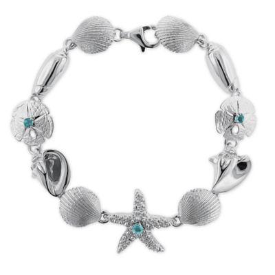 Sterling Silver .15 cttw Blue Topaz Sealife 7.5-Inch Bracelet