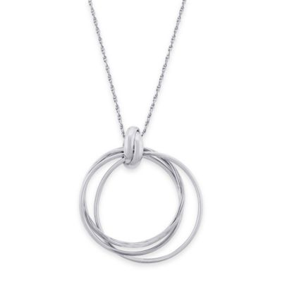 Sterling Silver 24-Inch Chain Knotted Triple Circle Pendant Necklace