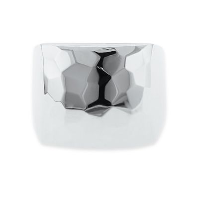 Sterling Silver Size 7 Nugget Faceted Square Ring