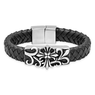 Stainless Steel Gothic Cross 8.5-Inch Men's Braided Black Leather Bracelet