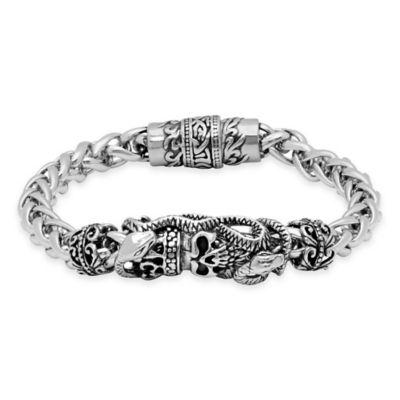 Stainless Steel Crowned Skull 8.5-Inch Wheat Chain Men's Bracelet