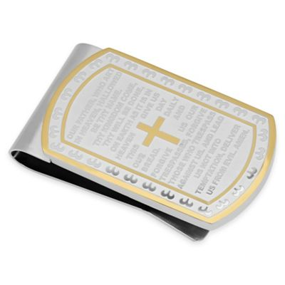 Two-Tone Stainless Steel Lord's Prayer Money Clip