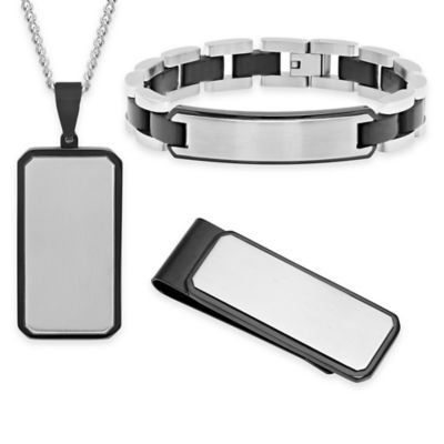 Stainless Steel and Black Ion-Plated 3-Piece ID Bracelet, Money Clip and Pendant Necklace Set