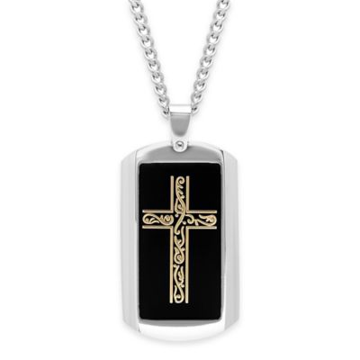Stainless Steel and Ion-Plated 24-Inch Chain Men's Dog Tag Cross Pendant Necklace