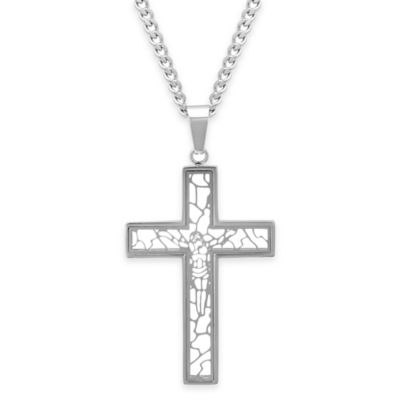 Stainless Steel 24-Inch Chain Men's Filigree Cross Pendant Necklace