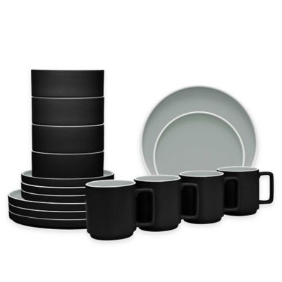 Noritake® ColorTrio Stax 16-Piece Dinnerware Set in Graphite