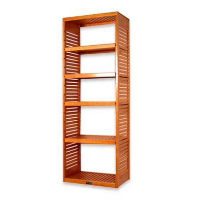 John Louis Home Deluxe Stand Alone Tower with Adjustable Shelves in Honey Amber