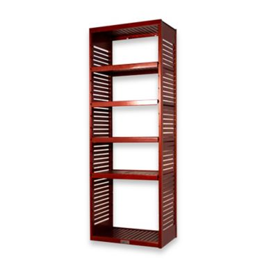 John Louis Home Deluxe Stand Alone Tower with Adjustable Shelves in Red Mahogany