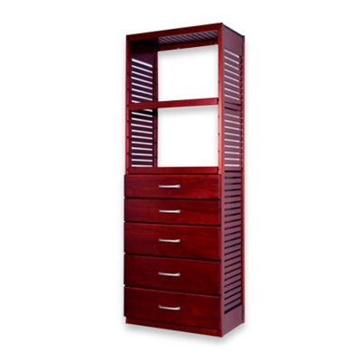 John Louis Home Deluxe Stand Alone Tower with 5 Drawers in Red Mahogany