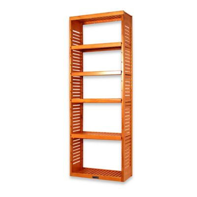 John Louis Home Standard Stand Alone Tower with Adjustable Shelves in Honey Amber