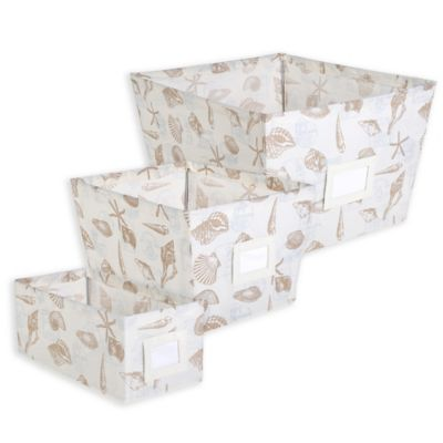 Small Storage Tote Bin in Beige