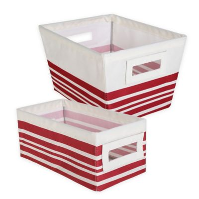 Small Storage Tote Bin in Red Stripe