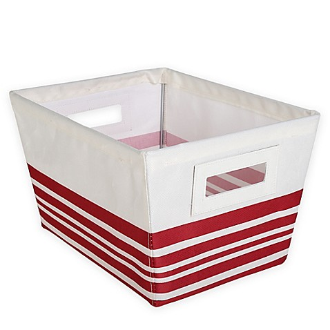 Buy small storage tote bin in red stripe from bed bath for Red bathroom bin