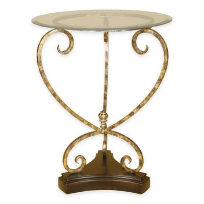Aged Gold Accent Table with Beveled Glass Top