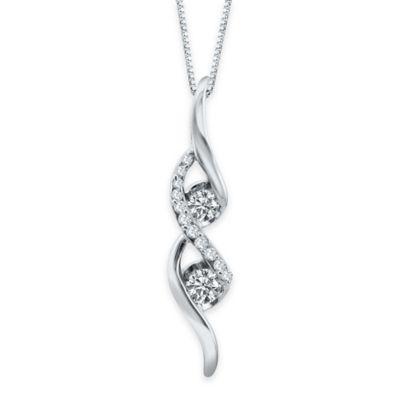 Sirena® Collection 14K White Gold 1/4 cttw Diamond Double Swirl Ribbon Pendant Necklace