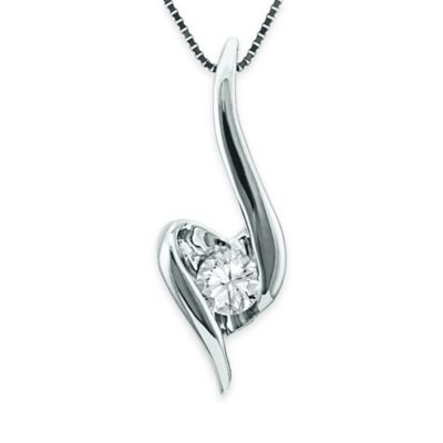 Sirena® Collection 10K White Gold .10 cttw Diamond 18-Inch Chain Ribbon Heart Pendant Necklace