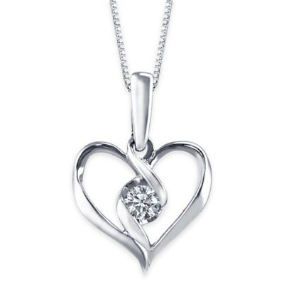 Sirena® Collection 10K White .10 cttw Diamond 18-Inch Chain Ribbon Heart Pendant Necklace