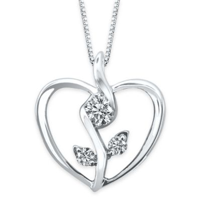 Sirena® Collection 10K White Gold .12 cttw Diamond Flower in Heart Pendant Necklace