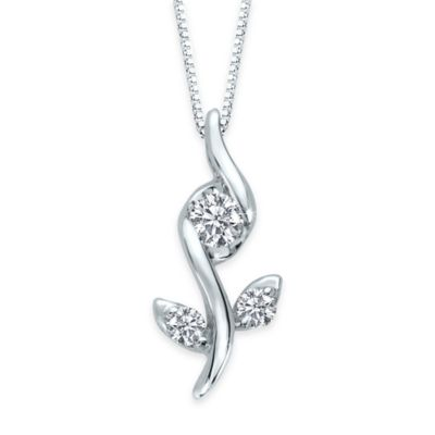Sirena® Collection 10K White Gold .12 cttw Diamond 18-Inch Chain Flower Pendant Necklace