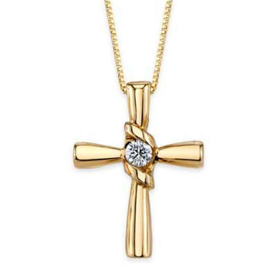 Sirena® Collection 14K Gold .10 cttw Diamond 18-Inch Chain Cross Pendant Necklace