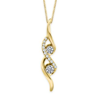Sirena® Collection 14K Yellow Gold .25 cttw Diamond Twisted Linear Drop Pendant Necklace