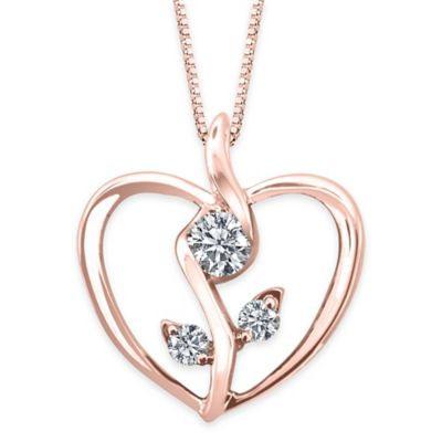 Sirena® Collection 10K Rose Gold .12 cttw Diamond 18-Inch Chain Flower in Heart Pendant Necklace